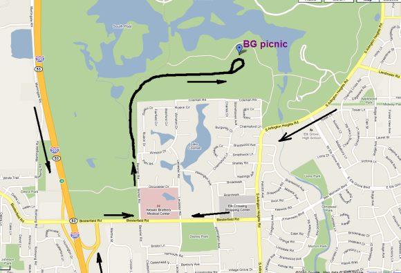 Карта на Busse Woods Forest Preserve - входът за алеята към пикника е покрай Alexian Brothers Medical Center на север по улица Beisner Rd. от лявата страна)