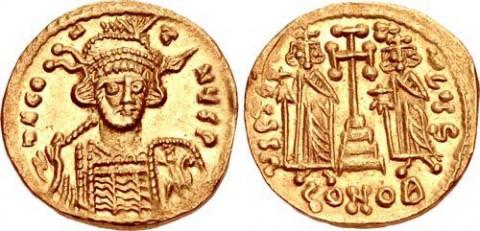 Златен солид на император Константин IV Погонат, сечен до 681 г. Снимка: от каталога на CNG