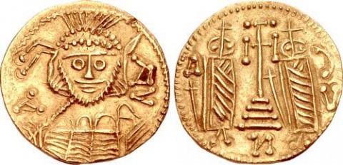 Подражателна монета на солида на император Константин Погонат, вероятно сечена от хан Аспарух, със знаци на български владетел. Снимка: от каталога на CNG