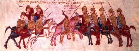 Войските на цар Самуил обсаждат Солун. Миниатюра от мадридския препис на хрониката на Йоан Скилица (ХІ-ХІІ в.)