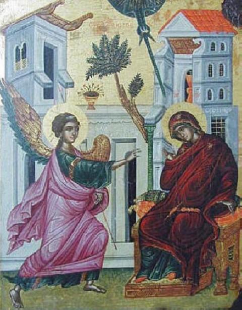 """Св. Благовещение (икона от XVI в., от черквата """"Св. Йоан Морски"""" в Несебър)."""