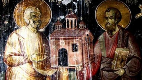 Св. Петър и св. Павел - фрагмент от стенопис в манастира в Арденица, 1744 г.