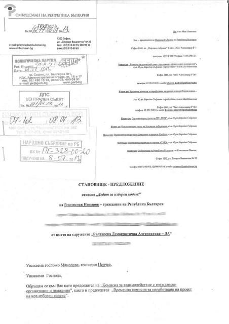 Факсилимиле от Отвореното писмо, заведено с вх. номер в делеводството на Народното събрание. Снимка: Владислав Ножаров