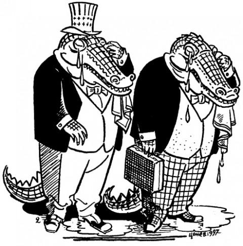 Крокодилски сълзи за демокрацията в България. Карикатура: Тодор Цонев