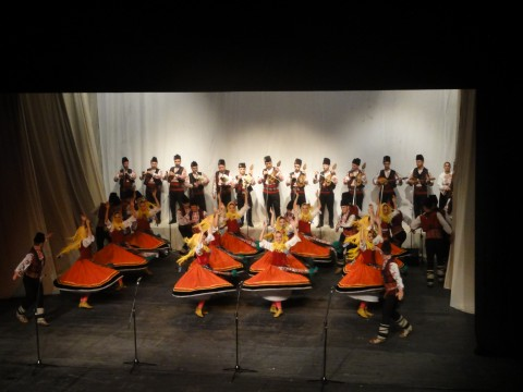 """Момент от шеметно красиво изпълнение на ансамбъл """"Тракия"""", чието изпълнение зарадва участниите в срещата в края на първия ден. Снимка: Петранка Стаматова"""