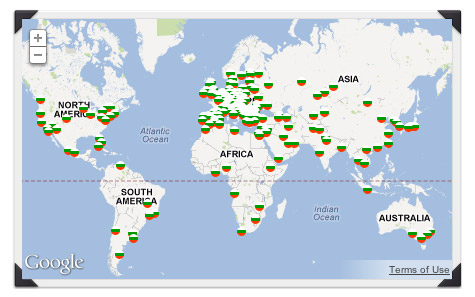 Карта на българските емигрантски общности по света. Източник: Napred-nazad.com