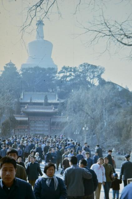 Градски парк в Пекин. На заден план - Бялата пагода