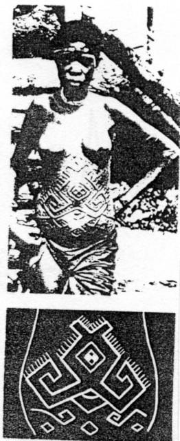 """Графики 3 а +  3 б : Интересна съпоставка на Васил Николов между  знаци върху плочка от Градешница (по-древната) и """"Сексуална"""" татуировка върху корема на бременна жена от племето майумбе в Конго, които носят  семантиката """"Помни; Памет""""."""
