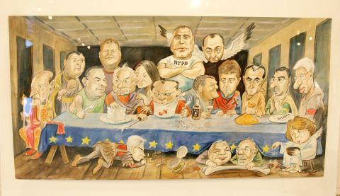 """""""Тайната вечеря"""" на родните политици. Карикатура: Иван Кутузов."""
