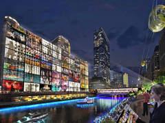 """Графики, предоставени от град покажи концепциите на проекта за осветление по протежение на реката и """"това, което може да бъде възможно от Международния конкурс"""". Снимка: Suntimes.com"""