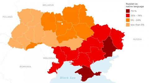 Карта на процента рускоговорящи граждани в различни райони на Украйна. Снимка: CNN