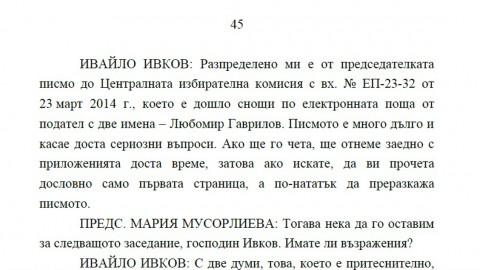 Абзац от протокол от заседание на ЦИК от 24 март т.г.