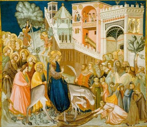 Влизането на Христос в Йерусалим, черковна фреска от Асизи