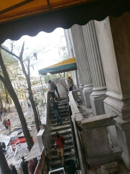 Следите от пожара в сградата на Българския културен център.
