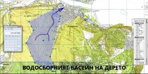 Водосборен басейн на Темелково дере в Аспарухово. Снимка: Скрийшот от видео, качено в You Tube