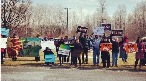 Fracking opponents in DeWitt gathered for Gov. Andrew Cuomo's visit on March 25. New York's Court of Appeals upheld the right of towns to ban fracking and other natural gas drilling. (Photo courtesy of Emily Bishop)