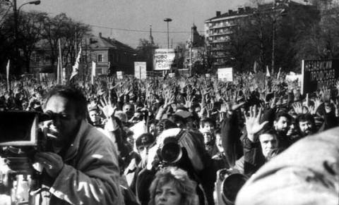 Първият свободен митинг, организиран 8 дни след 10 ноември. Снимка: omda.bg