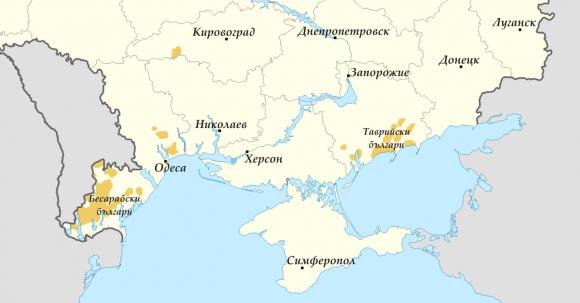 Карта на българите в Украйна. Източник: Уикипедия