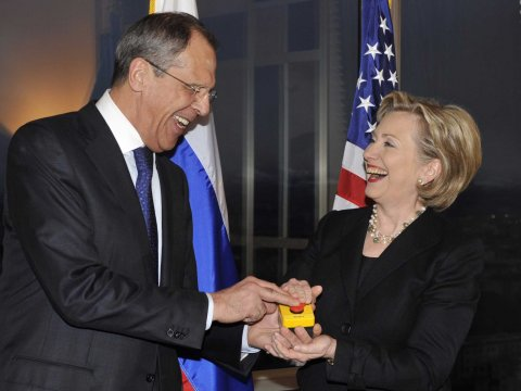 Then-Secretary of State Hillary Rodham Clinton with Russian Foreign Minister Sergey Lavrov in March 2009.
