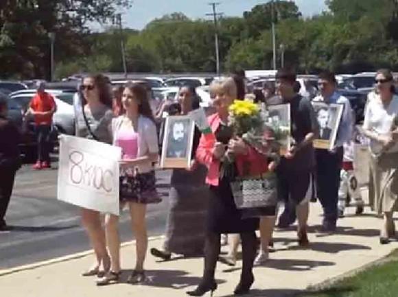 Момент от 24-майската манифестация на Малко българско училище. Снимка: Скрийшот от видео на МБУ