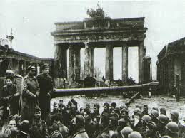 Brandenburg Gate with in front Russian soldiers after the battle of Berlin, May 1945.