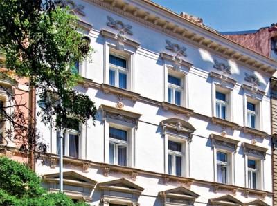 """Част от фасадата на Българския клуб в Прага на ул. """"Америцка"""""""