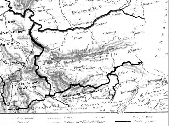 """German map of the Balkans showing the territories """"under Bulgarian governance"""" (administration)"""