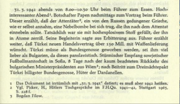 A statement made by Hitler, describing Turkey as a much more valuable ally of Germany than Bulgaria, allegedly on account of the latter being 'Pan-Slavic'.