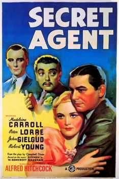 """Плакат за филма """"Таен агент"""" на Хичкок от 1936 г. по сюжет на Съмърсет Моъм. Снимка: в. """"Сега"""""""
