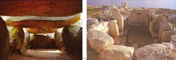 Фиг.5. Коридорна гробница, Германия (ляво). Мегалитен храм на о-в Малта (дясно). Снимки: Интернет