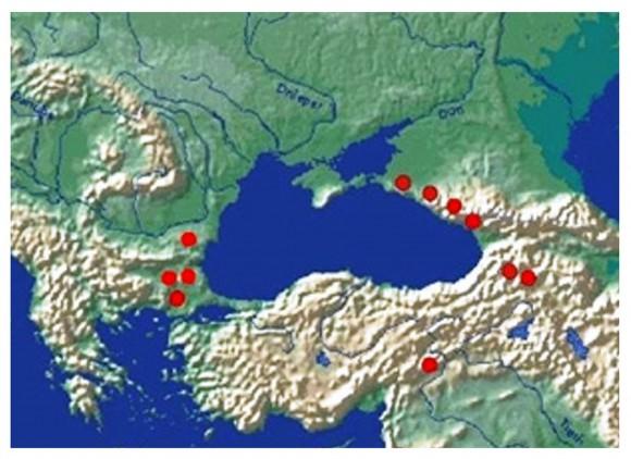 Фиг.7. Мегалитни ареали около Черно море. Схема [Мегалиты Урала 2010]