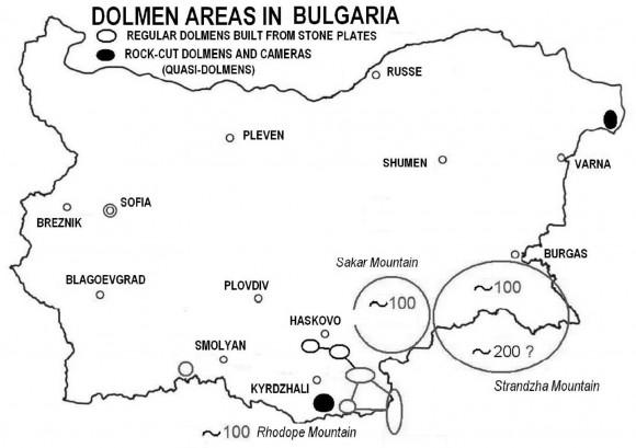 Фиг.12. Разположение на долмените в Балканското находище [Tsonev, Kolev 2013]