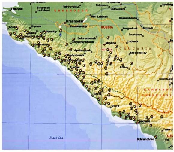 Фиг.18. Разпространение на долмените в Западен Кавказ [Трифонов 2001]