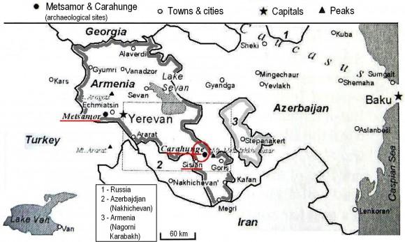 Фиг. 22. Положение на арменските мегалитни обекти Карахундж и Метцамор. [Bochkarev, Bochkarev 2005]