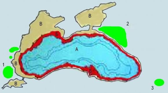 Фиг. 29. Илюстрация на хипотезата за потопа в Черно море [Димитров, Димитров 2003]