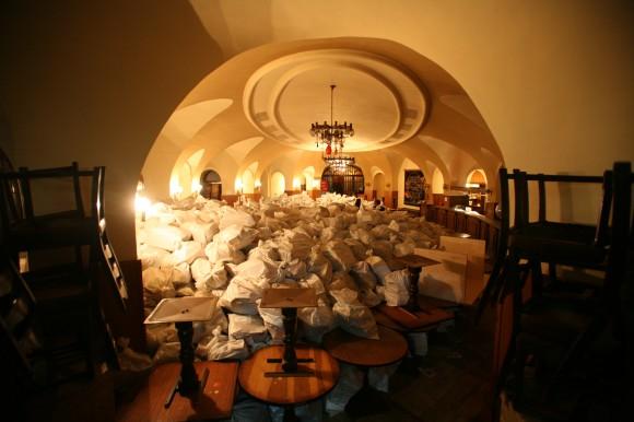 """""""Яйцето"""", снимано през 2012 , когато в него са били складирани чували с книги. Снимка: в. """"Преса"""""""