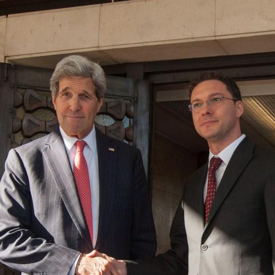 Митов и Кери по време на посещението на държавния секретар на САЩ в България