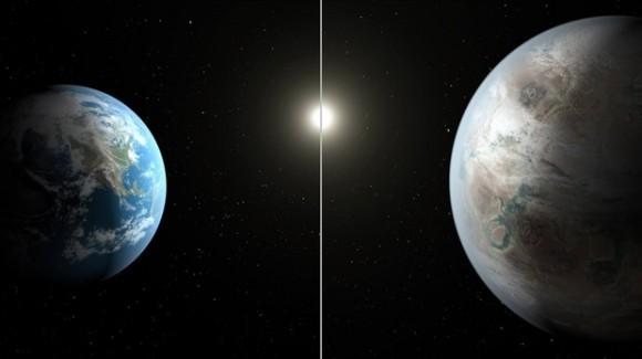Така изглежда Земята (вляво), сравнена с Kepler-452b, като новата планета е около 60% по-широка в диаметър от нашата [NASA/JPL-Caltech/T. Pyle]