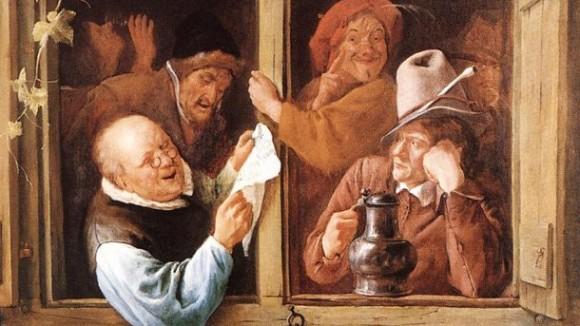 """Фрагмент от картината на холандския художник Ян Стийн (1626-1679) """"Оратори на прозореца""""."""