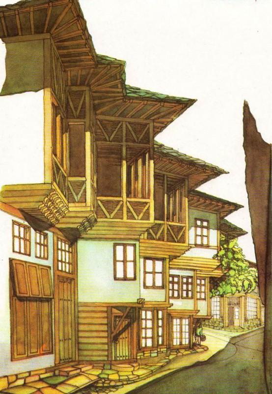 """Габровска улица с къщата на бащата на Атанас - Юрдан Тотев откъм изток. Рисунка: арх. Нено Ямантиев, из книгата """"Габрово през епохата на Възраждането"""""""