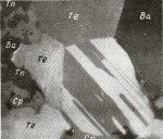 Образец от минерала Kostovite, който е наречен така на името на акад. Костов. Снимка: webmineral.com