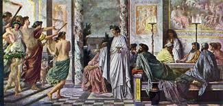 Пир - фреска от Пестум, 495 г. пр. Хр. Източник: bg.wikipedia.org