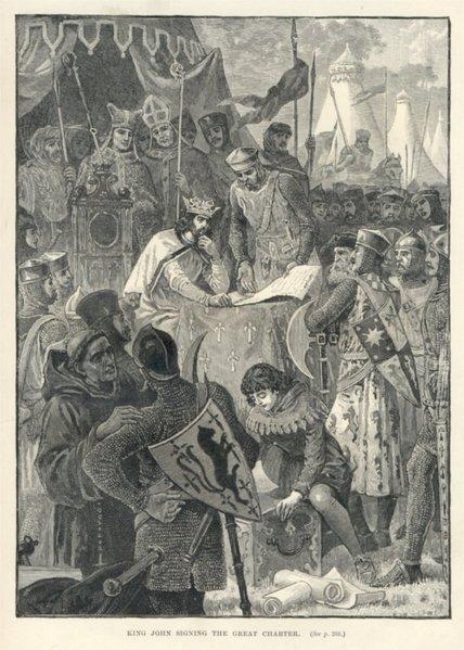 """Крал Джон подписва """"Магна харта Либертатум"""". Източник: bg.wikipedia.org"""