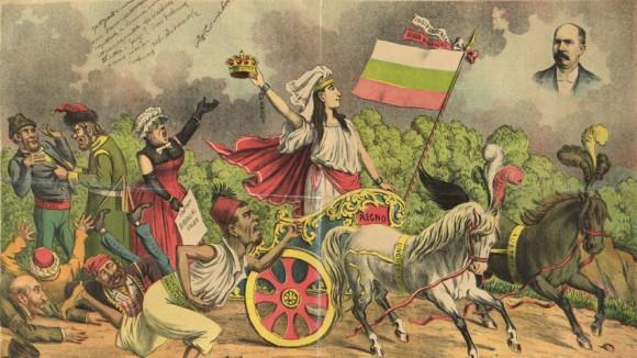 """Карикатура от Ф. Барбиери, символизираща обявяването на България за независимо царство и политиката на великите сили, публикувана във в. """"Le perroquet"""" 1908 г. в Болоня, Италия.  Снимка: Централен държавен архив"""