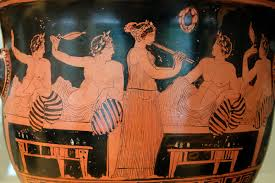 A female aulos-player entertains men at a symposium on this Attic red-figure bell-krater, c. 420 BC. Source: en.wikipedia.org