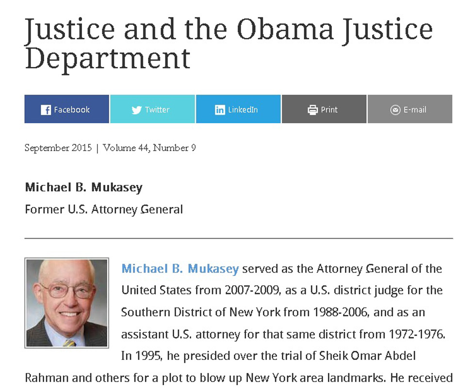 Michael B  Mukasey: Justice and the Obama Justice Department