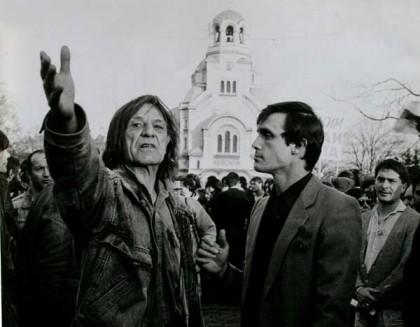 Покойният вече Петър Слабаков и Александър Каракачанов на екопротеста на 3 ноември 1989 г., която дата, според някои, е в някакъв смисъл по-важна от 10-ти. Снимка: e-vestnik.bg