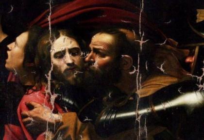 """Илюстрация: """"Целувката на Юда"""" на Караваджо, детайл"""