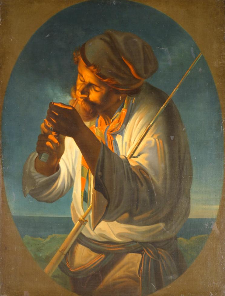 """""""Рибар"""", 1859 г., картина на Добрович от колекцията на Художествена галерия -  Сливен"""