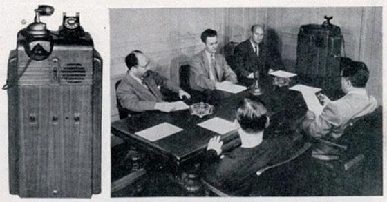 Демонстрация за далечна конференция и самото устройство от 1946 г.